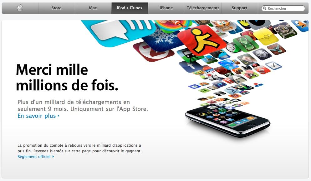 Un milliard de téléchargements pour l'App Store