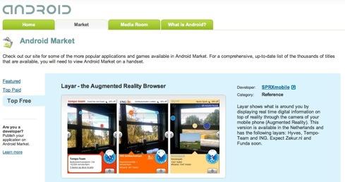 Layar est disponible sur l'Android Market dans le monde entier