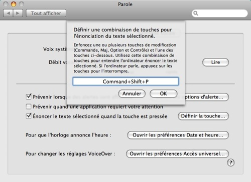 Mac OS X - Synthèse vocale