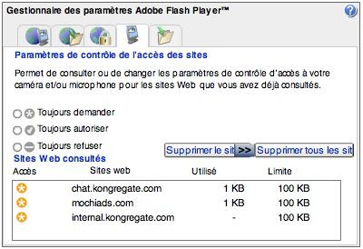 Flash Player - gestionnaire de paramètres