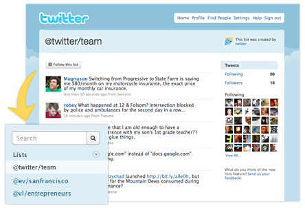 Twitter - listes d'utilisateurs