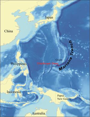 La profondeur de l'océan à l'échelle (Fosse des Mariannes)