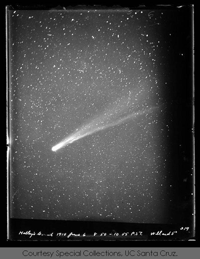 Comète de Halley vue de l'observatoire Lick le 6 juin 1910